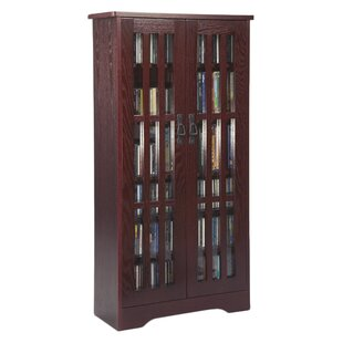 Glass Door Tall Multimedia Storage Cabinet