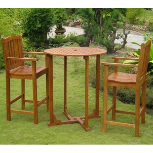 Breakwater Bay Sabbattus 3 Piece Bar Height Dining Set