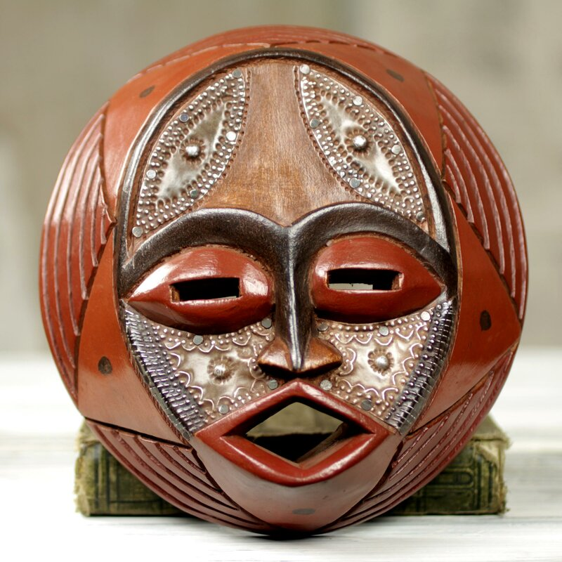 novica victor dushie handcrafted circular west african mask wall