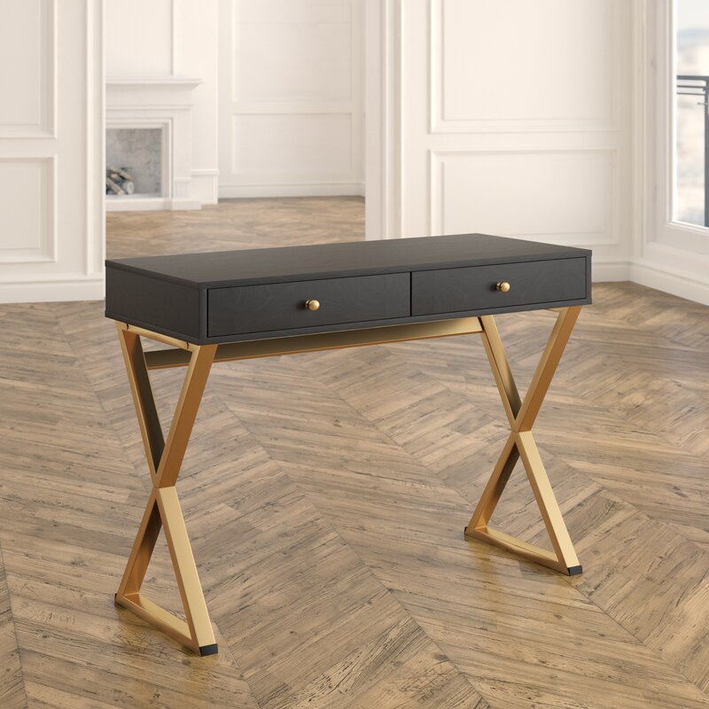 86bef521ee3cb Willa Arlo Interiors Dayne Solid Wood Writing Desk   Reviews