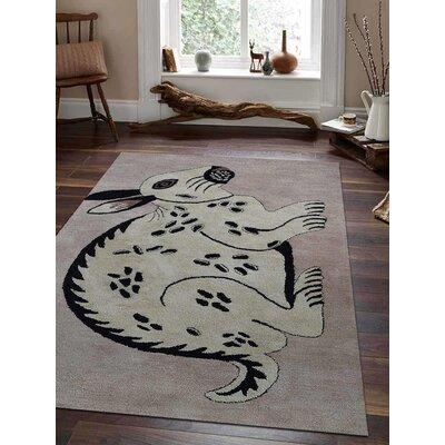 Zoomie Kids Novelty Kangroo Print Hand Tufted Wool Carpet Indian Oriental Kids Playroom Cream Area Rug