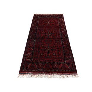 Inexpensive One-of-a-Kind Pride Hand-Knotted 2'7 x 6' Wool Red/Black Area Rug By Isabelline