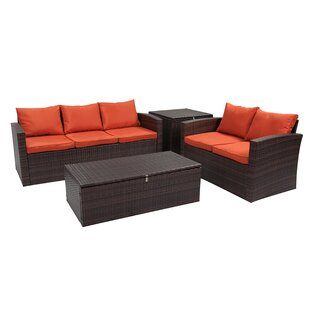 Marisa 4 Piece Rattan Sofa Seating Group (Set of 4)