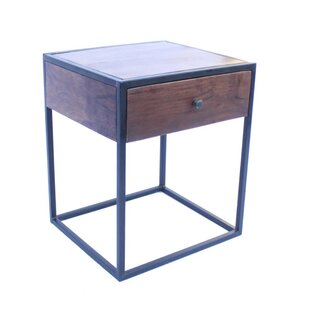 Bellagio Contemporary Iron and Wood 1 Drawer Nightstand