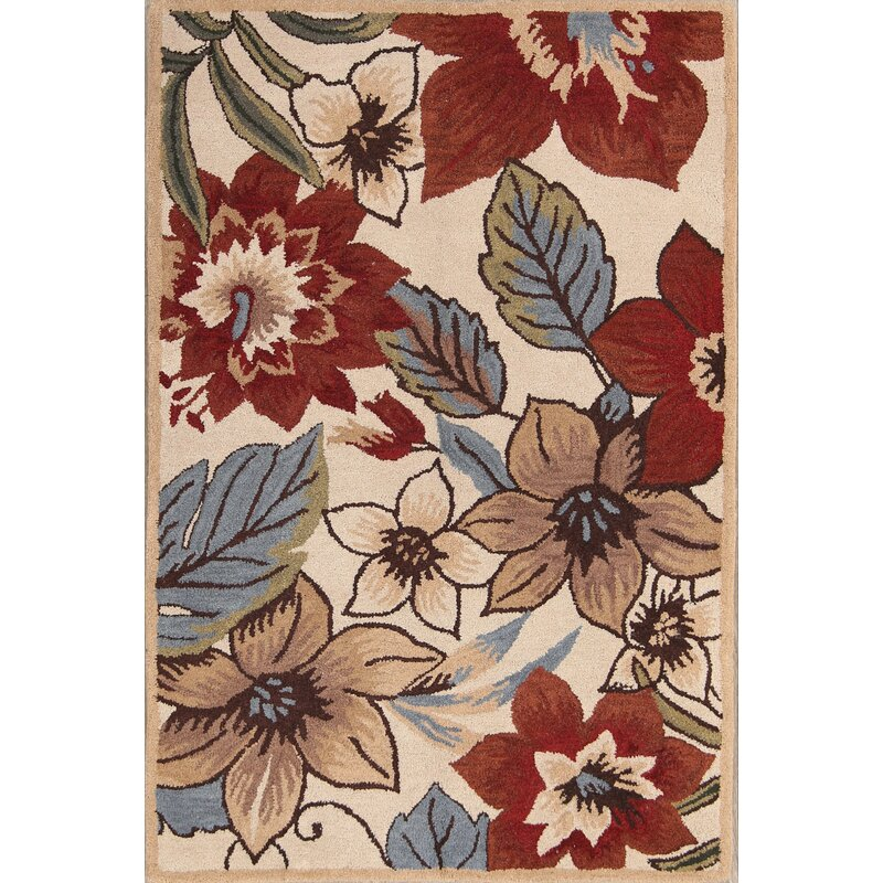 Alcott Hill Mogensen Floral Hand Tufted Wool Beige Area Rug Wayfair