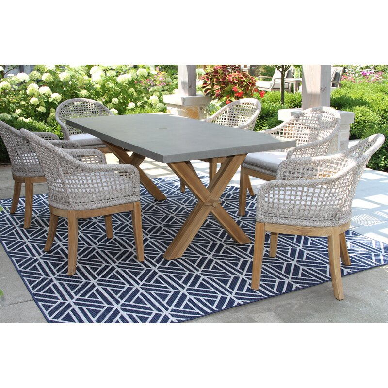 Rex 7 Piece Teak Dining Set With Sunbrella Cushions Reviews Birch Lane