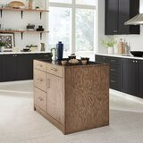 Kutsi Kitchen Island Set with Granite Top by Gracie Oaks