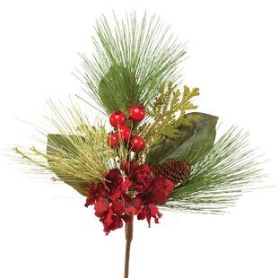 Silk christmas flowers wayfair crimson silk christmas pik with faux berries pinecone and flowers set of 2 mightylinksfo