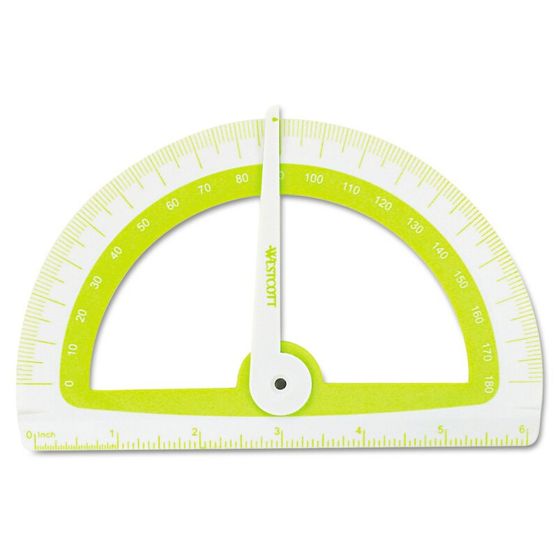 """Microban Soft Touch Antimicrobial Protractor, 6"""", 180°, GN;BE;PK;OE, 1 EA"""