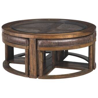 Bloomsbury Market Hutchinson Coffee Table With 4 Nested Stools