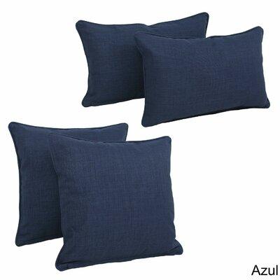 Three Posts Dunwich Indoor/Outdoor Throw Pillow Color: Azul