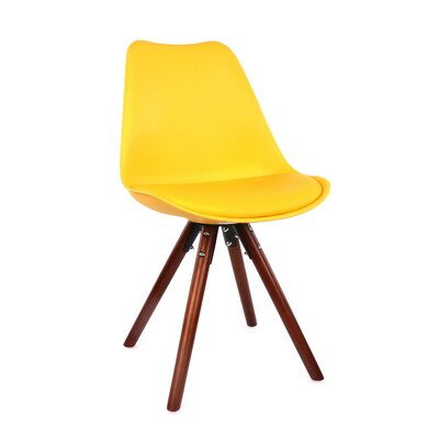 George Oliver Beyers Upholstered Dining Chair Leg Color: Walnut, Upholstery Color: Yellow