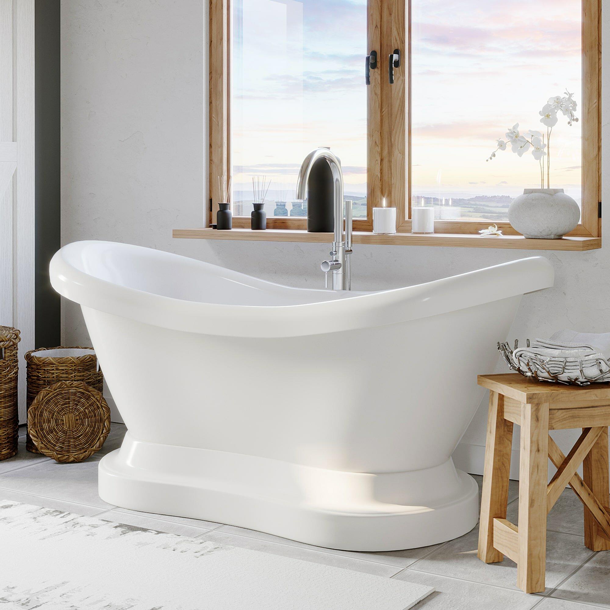 Picture of: Cambridge Plumbing 69 X 29 Pedestal Soaking Bathtub Wayfair
