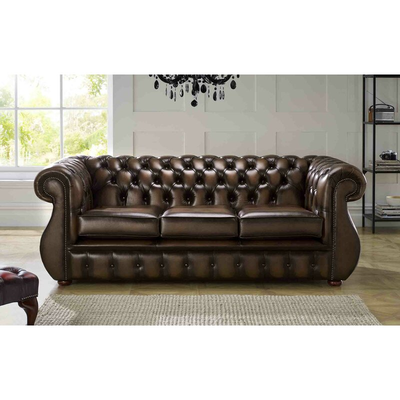Astoria Grand Colvard Genuine Leather 2 Seater Chesterfield Sofa Wayfair Co Uk