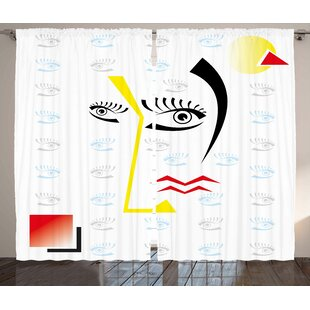 Clybourn Modern Abstract Trippy Artful with Fractured Human Face and Eyes Geometric Backdrop Image Graphic Print & Text Semi-Sheer Rod Pocket Curtain Panels (Set of 2) by Latitude Run