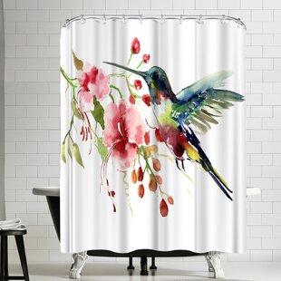 Suren Nersisyan Hummingbird And Flowers Single Shower Curtain