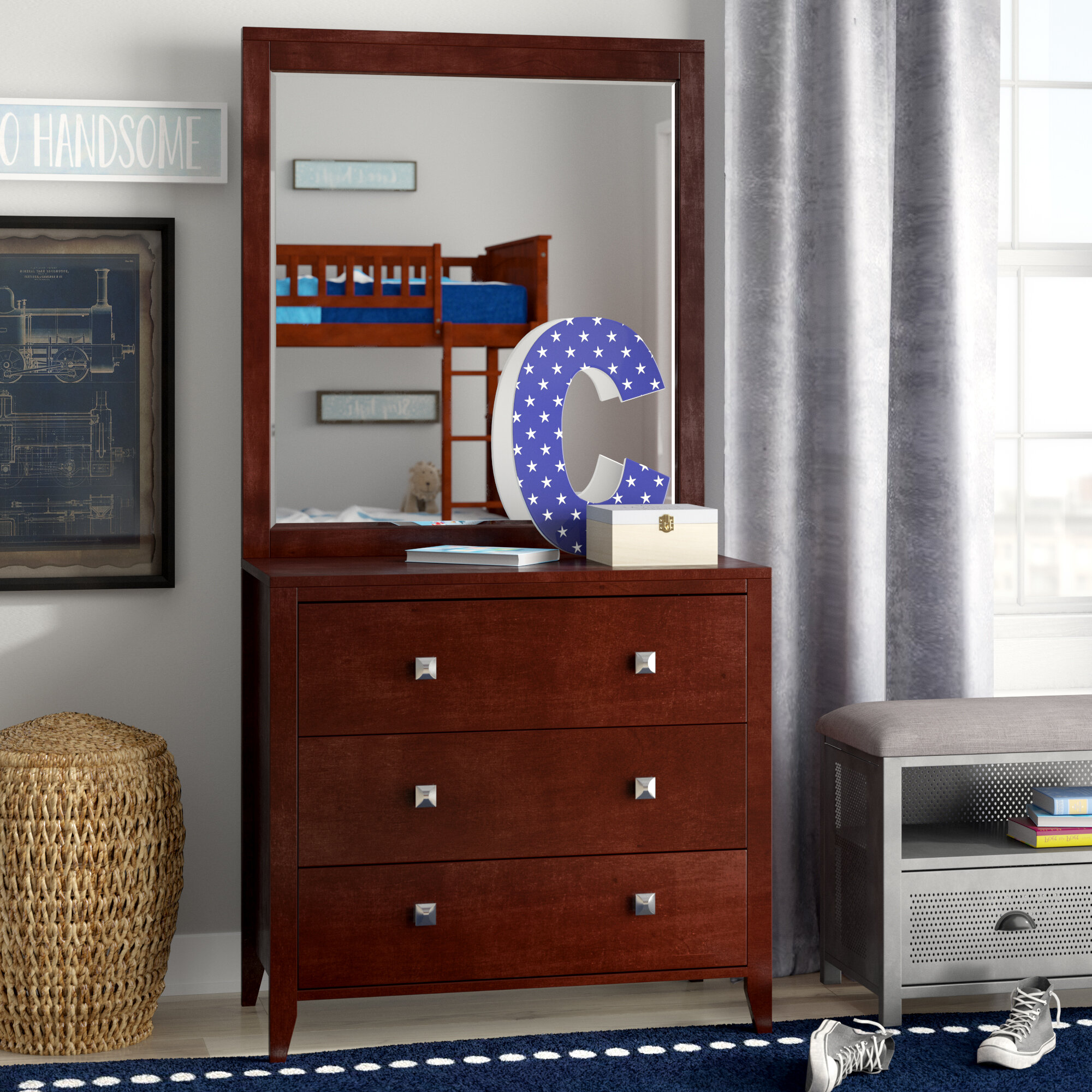Granville 3 Drawer Chest With Mirror
