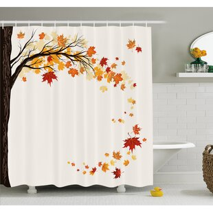Best Deals Fall Leaf Group Motion in Mother Earth Transition from Summer to Winter Decor Shower Curtain Set By Ambesonne
