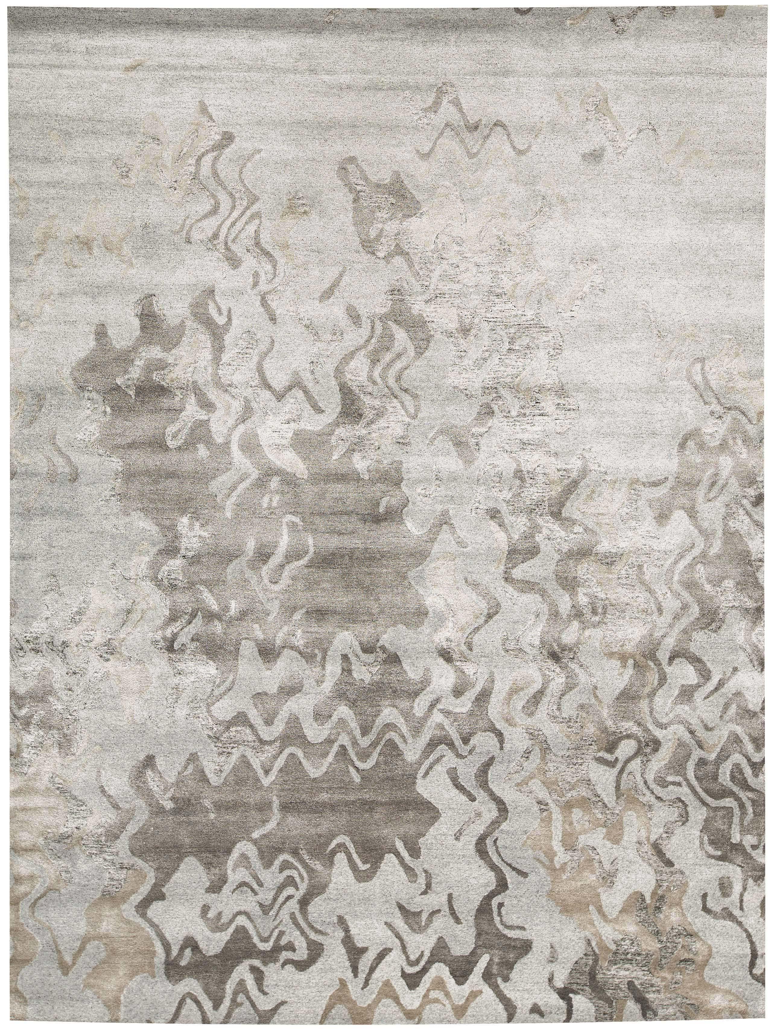 Bokara Rug Co Inc Trenton Abstract Handmade Tufted Silver Charcoal Area Rug Wayfair
