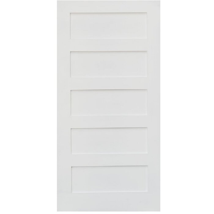 Stiledoors Primed Shaker 5 Panel Solid Manufactured Wood Panelled