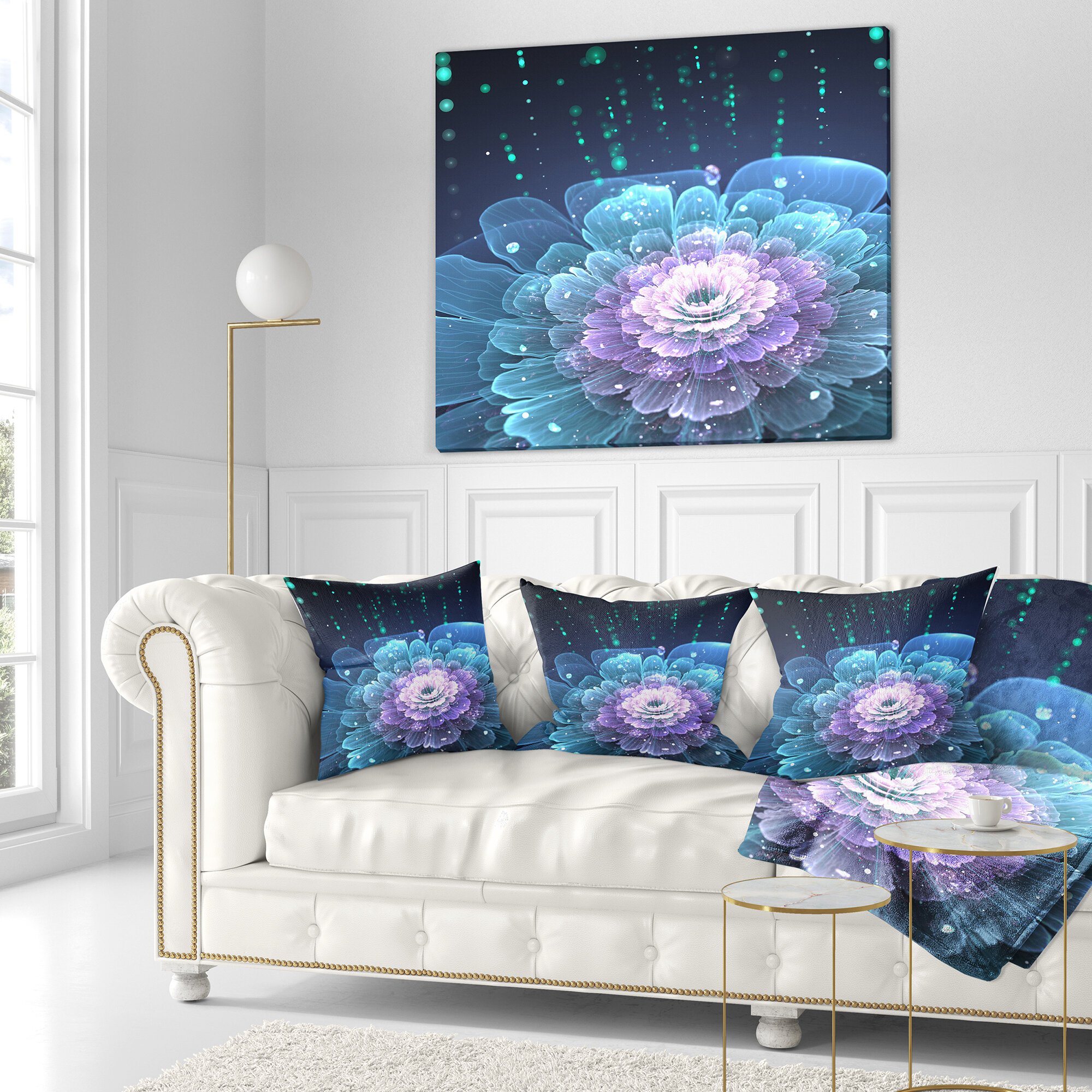 East Urban Home Designart Fractal Flower With Water Drops Floral