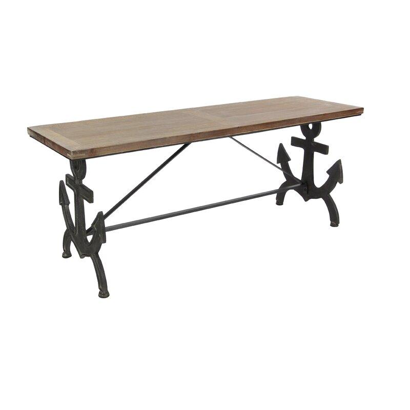 Cole Grey Metal Wood Anchor Bench Reviews Wayfair - Picnic table anchors