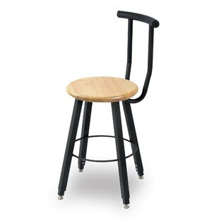 32 Adjustable Height Round Hardwood Seat 4 Leg Stool with Backrest by WB Manufacturing