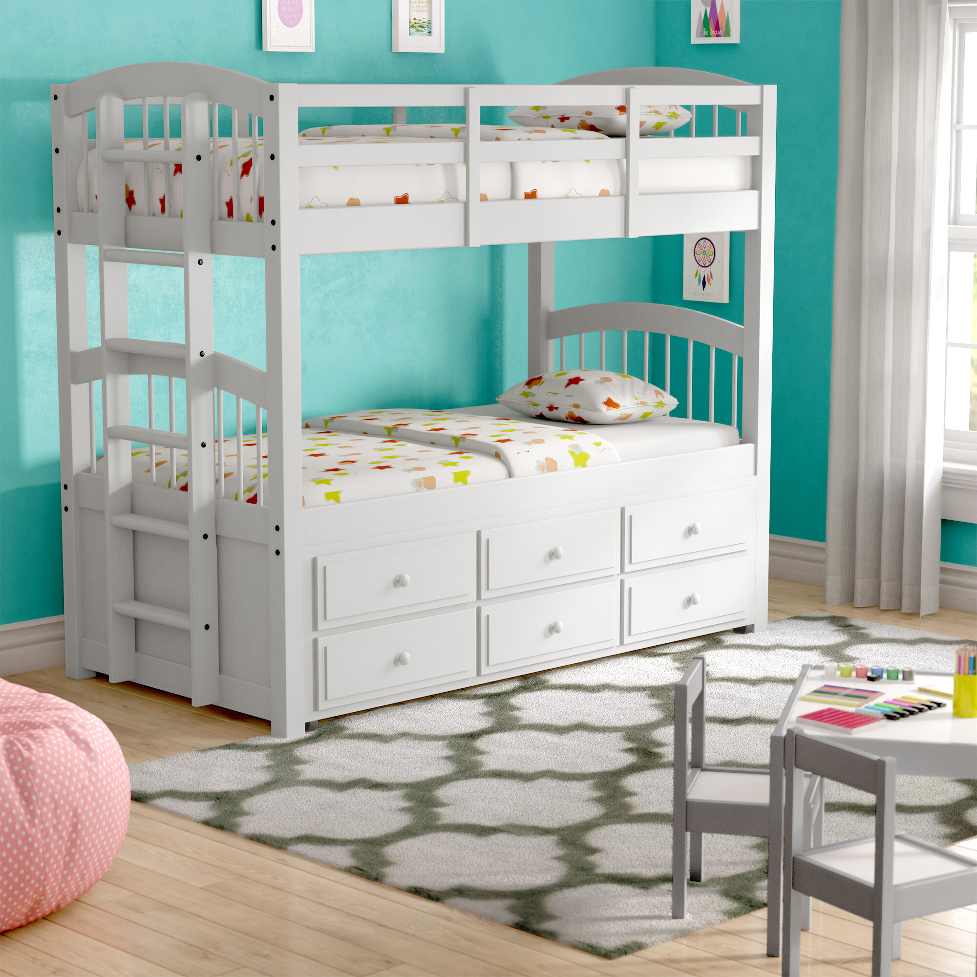 Picture of: Harriet Bee Octavius Twin Bunk Bed With Trundle And Drawers Reviews