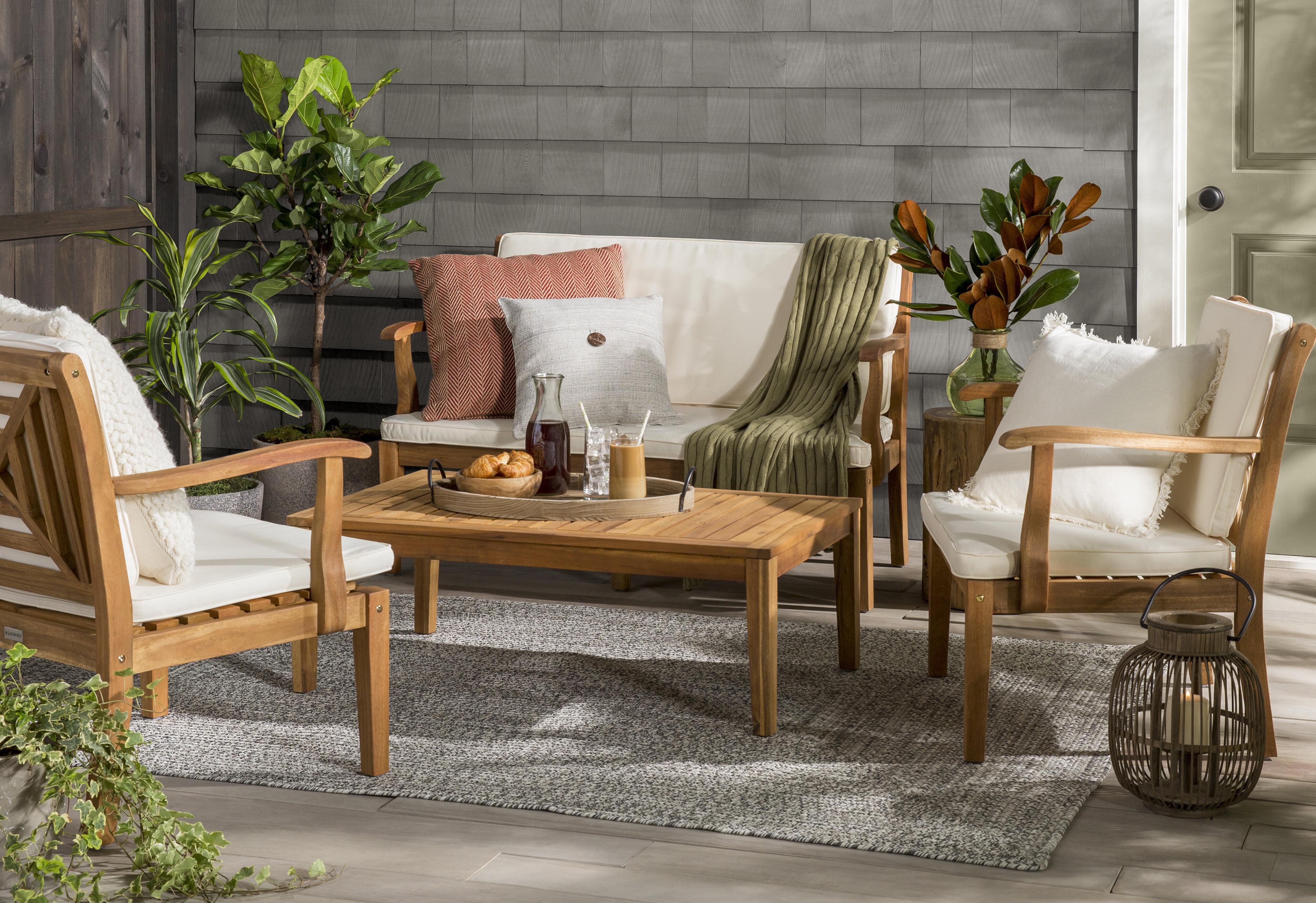 Highland Dunes Tullia 4 Piece Conversation Set With Cushions U0026 Reviews    Wayfair