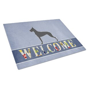 Welcome Dog Glass Great Dane Cutting Board