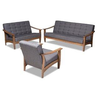 Pliner 3 Piece Living Room Set by Wrought Studio
