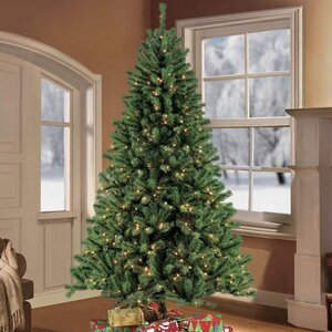 9' Green Fir Artificial Christmas Tree with 1000 Clear Lights with Stand