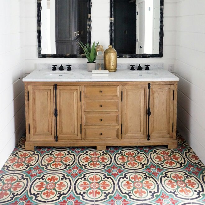 Patterned floor tile in colorful daring bathroom from Wayfair article