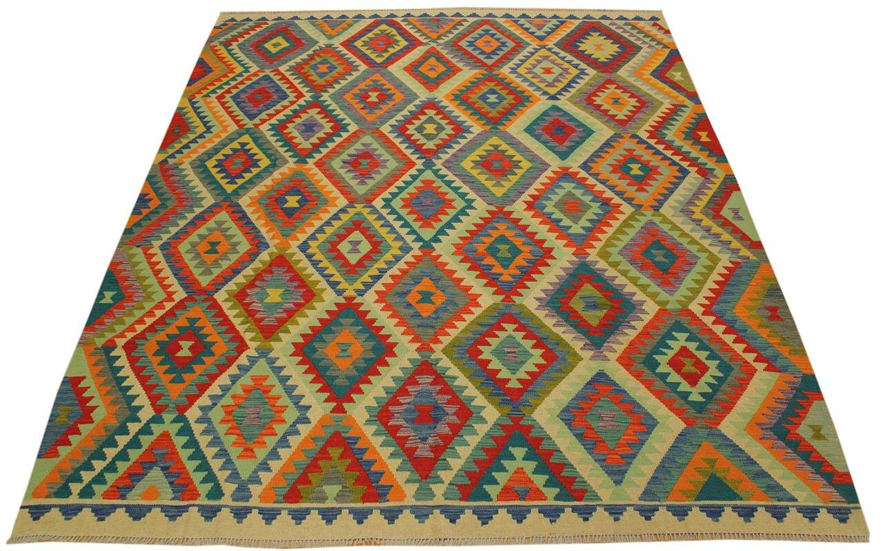 Isabelline One Of A Kind Sinclair Handmade Kilim Wool Light Green Yellow Area Rug Wayfair