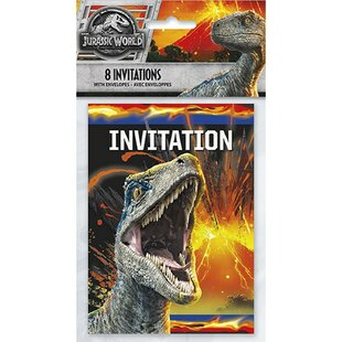 Jurassic World 2 Paper Disposable Party Invites (Set of 8)