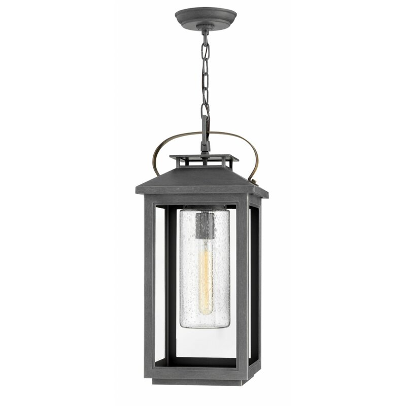 Longshore Tides Carillo 1 Bulb 21 5 H Outdoor Hanging Lantern Wayfair