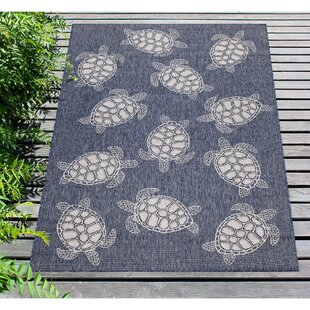 Desantiago Seaturtles Navy/White Indoor/Outdoor Area Rug by Highland Dunes
