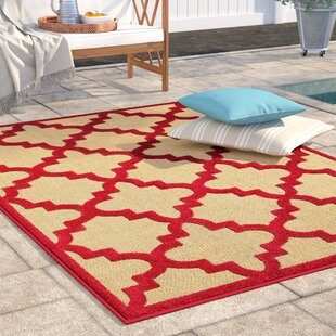 Barker Sand/Cherry Red Indoor/Outdoor Area Rug
