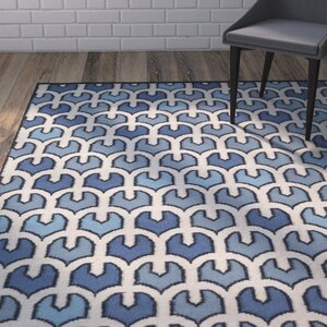 Criss Blue/Beige Geometric Area Rug