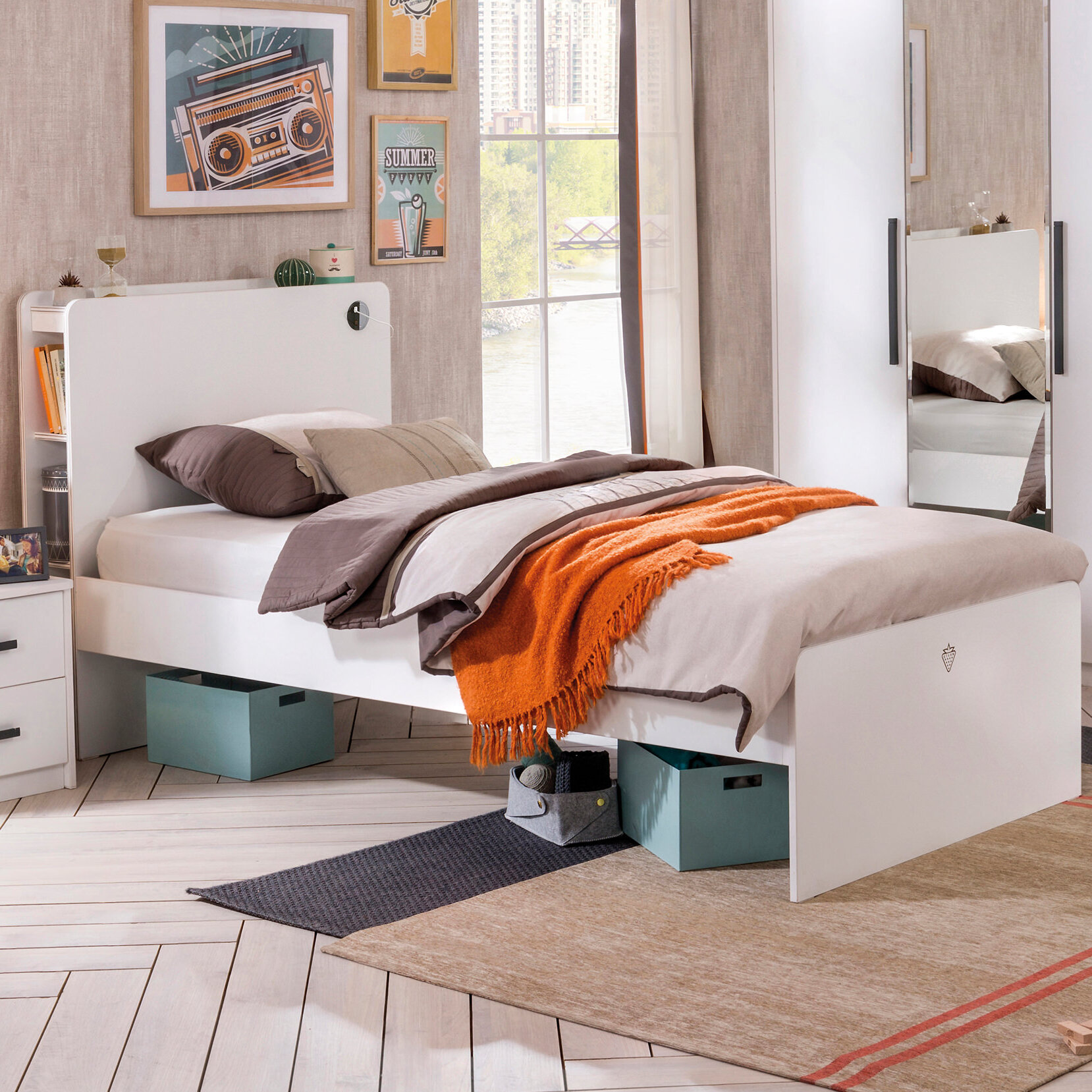 Ebern Designs Altheda Solid Wood Storage Platform Bed