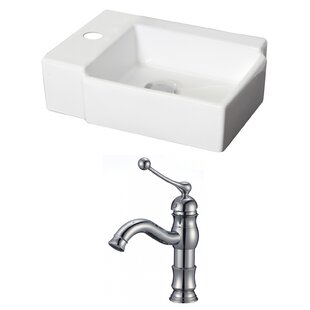 Inexpensive Ceramic 17 Wall Mount Bathroom Sink with Faucet By American Imaginations