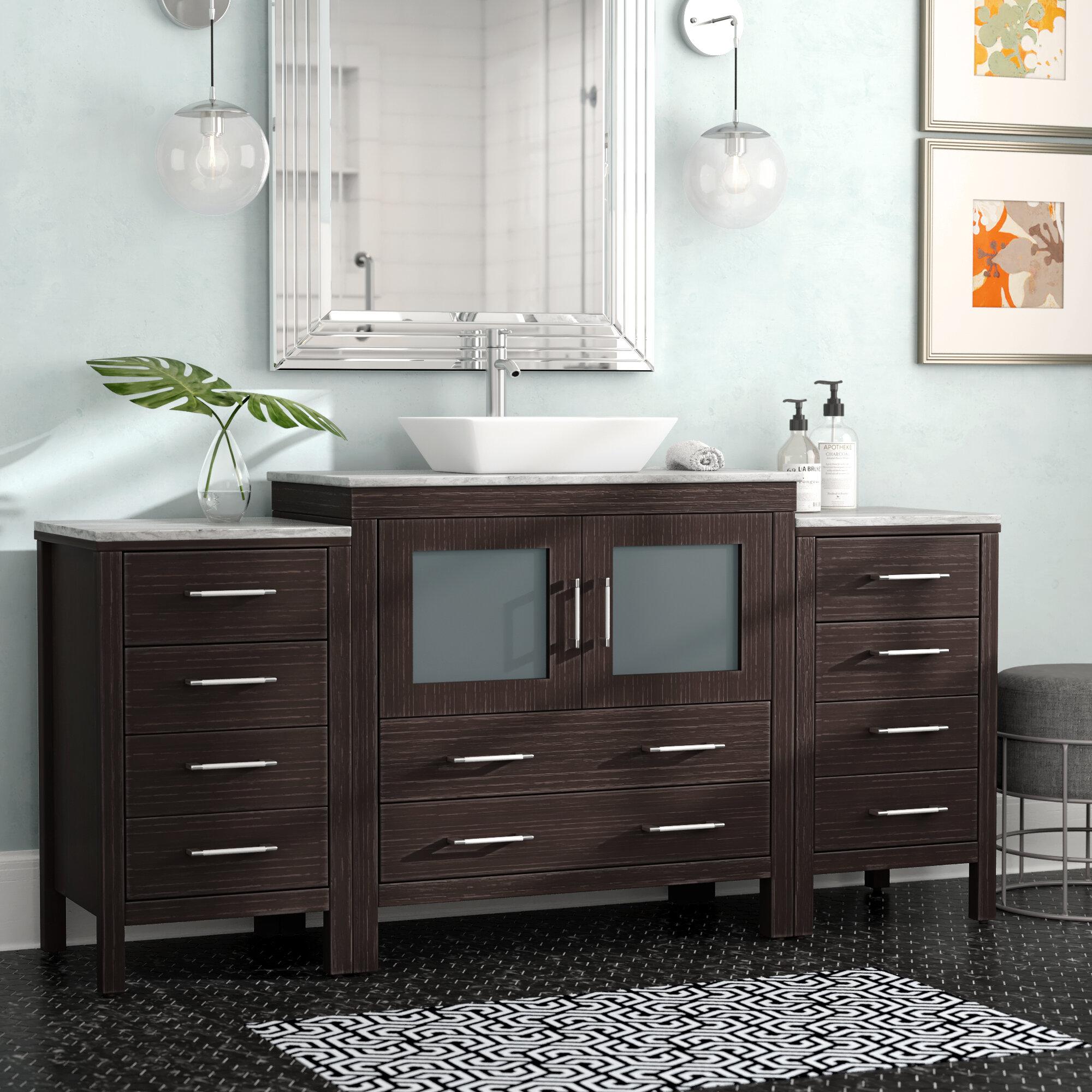 stanardsville 68 single bathroom vanity set with white marble top