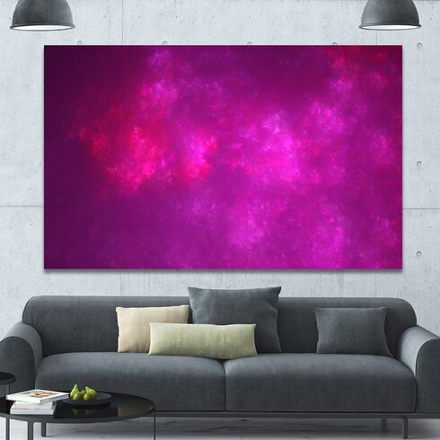 DesignArt \'Bright Pink Starry Fractal Sky\' Graphic Art on Wrapped ...