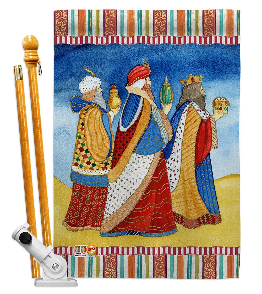 Breeze Decor Three Wise Men Nativity Impressions Decorative 2 Sided Polyester 40 X 28 In Flag Set Wayfair