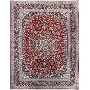 Best Choices Almon Traditional Floral Medallion Kashan Persian Bedroom Blue/Burgundy Area Rug ByWorld Menagerie