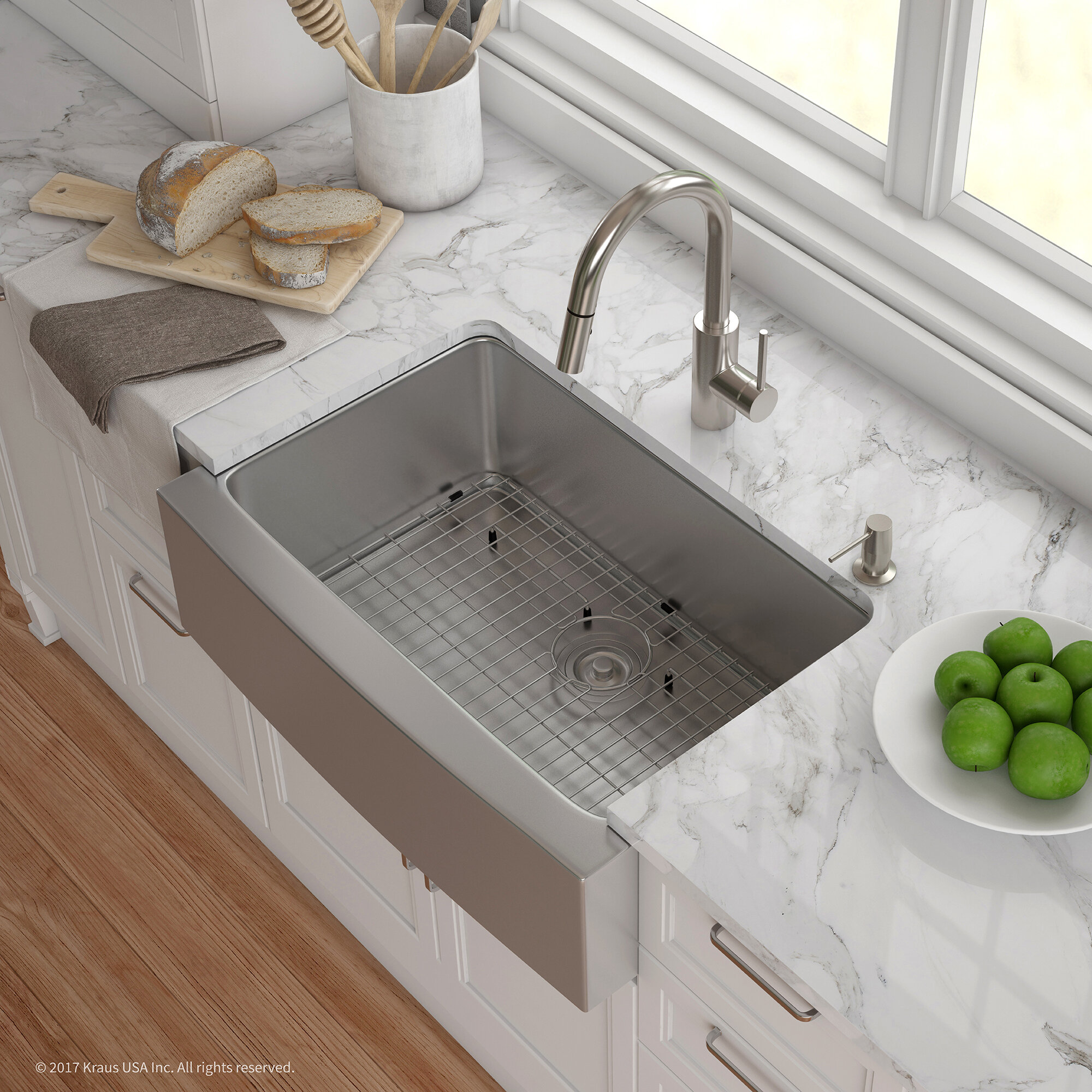 Khf200 30 2620 41ss Kraus Handmade Series 29 75 L X 20 75 W Farmhouse Kitchen Sink With Faucet And Soap Dispenser Wayfair