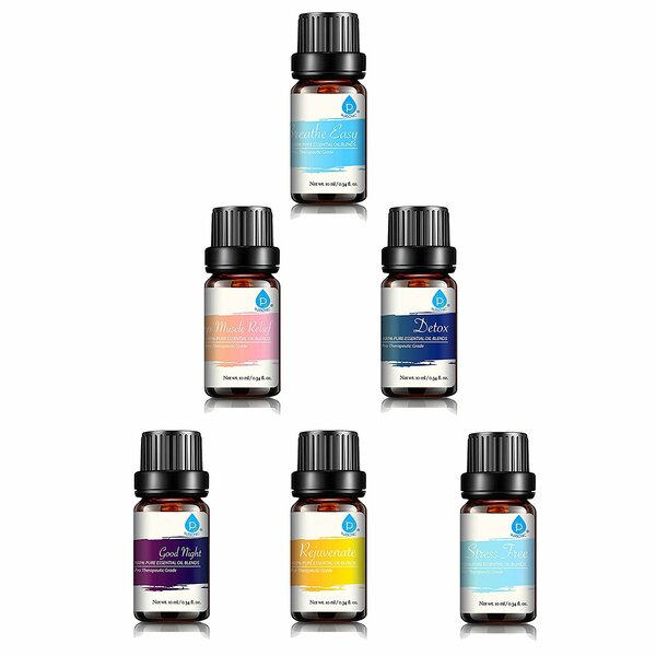 100% Pure Essential Oil Blends Gift Set (Set of 6) by Pursonic