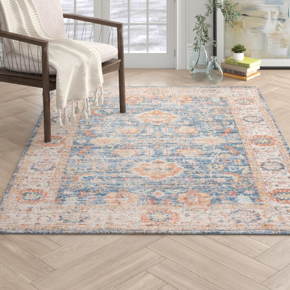 Obadiah Handwoven Flatweave Blue Beige Orange Area Rug Reviews Joss Main