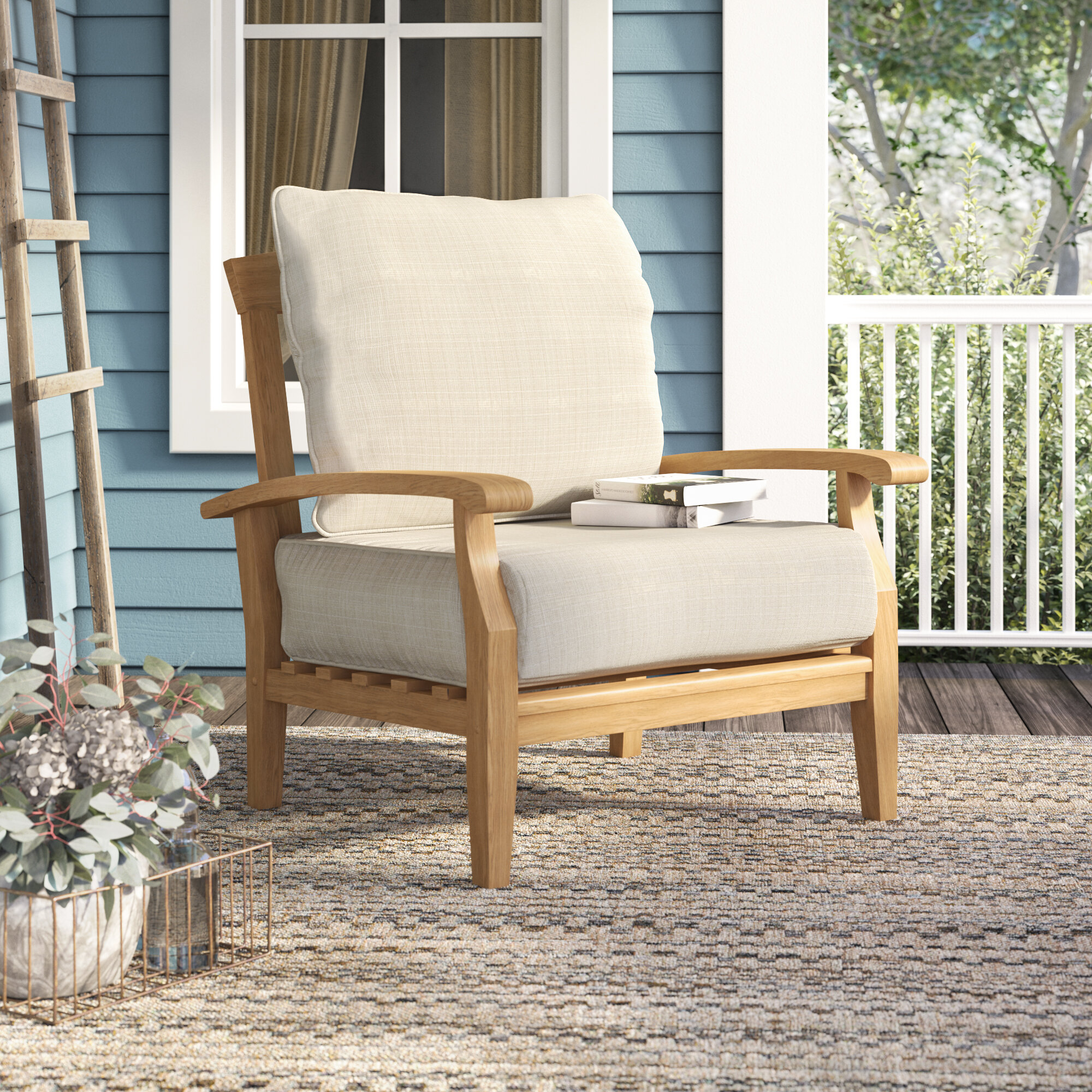 Birch Lane Heritage Summerton Teak Patio Chair With Cushions