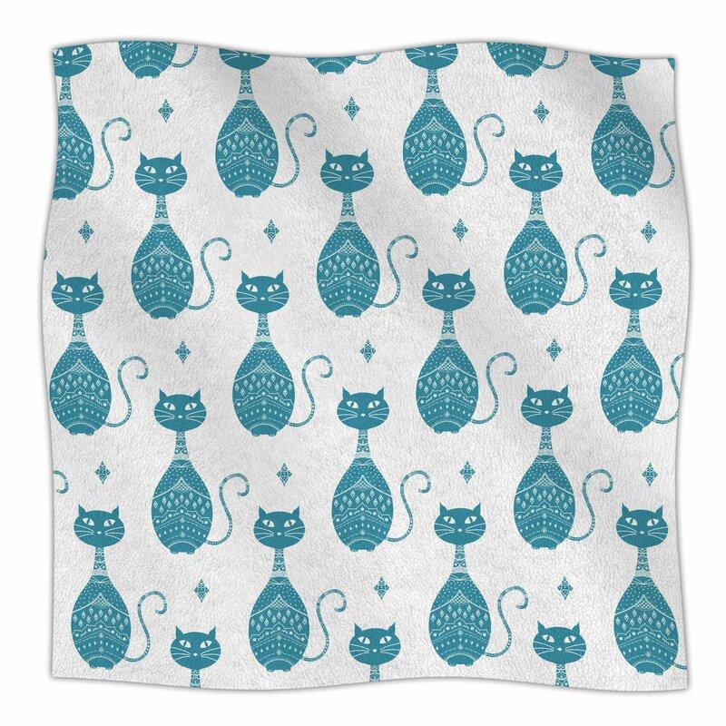 East Urban Home Cat Pattern By Cristina Bianco Design Fleece Blanket Magnificent Fleece Blanket Pattern